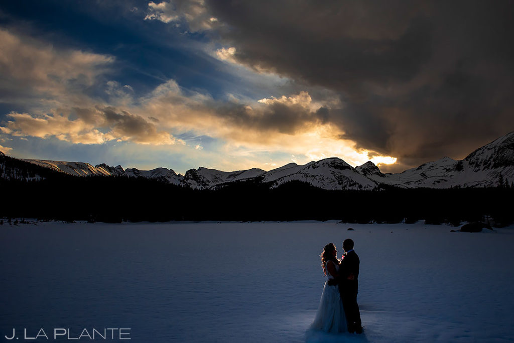 sunset portrait of bride and groom at Brainard Lake elopement