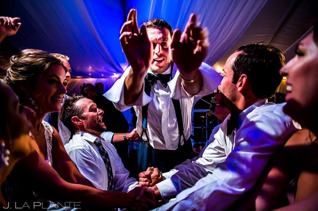 encourage your wedding guests to put their phones down Camp Hale wedding