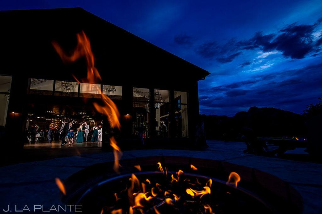 Colorado wedding venue at night