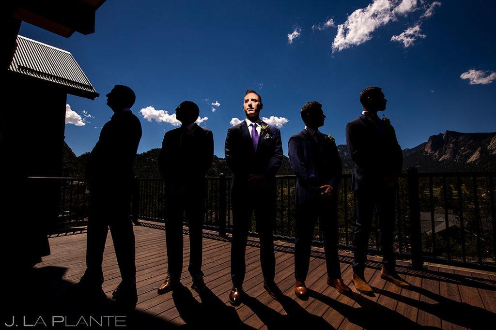 silhouette portrait of groom and groomsmen