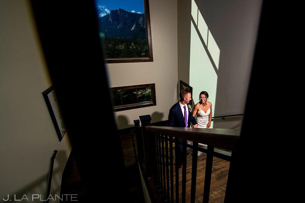 indoor portrait of bride and groom in Estes Park Colorado
