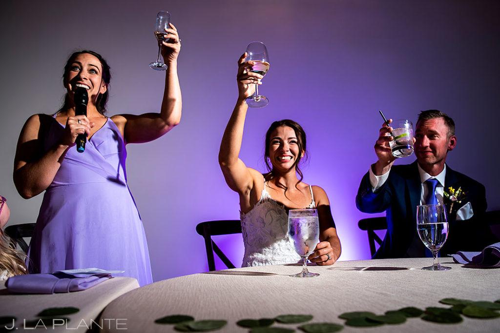 spring wedding at Black Canyon Inn maid of honor toast