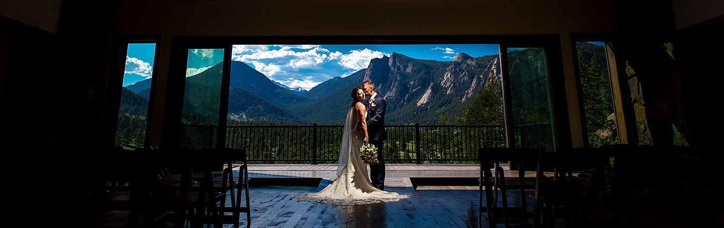portrait of bride and groom at spring wedding at Black Canyon Inn
