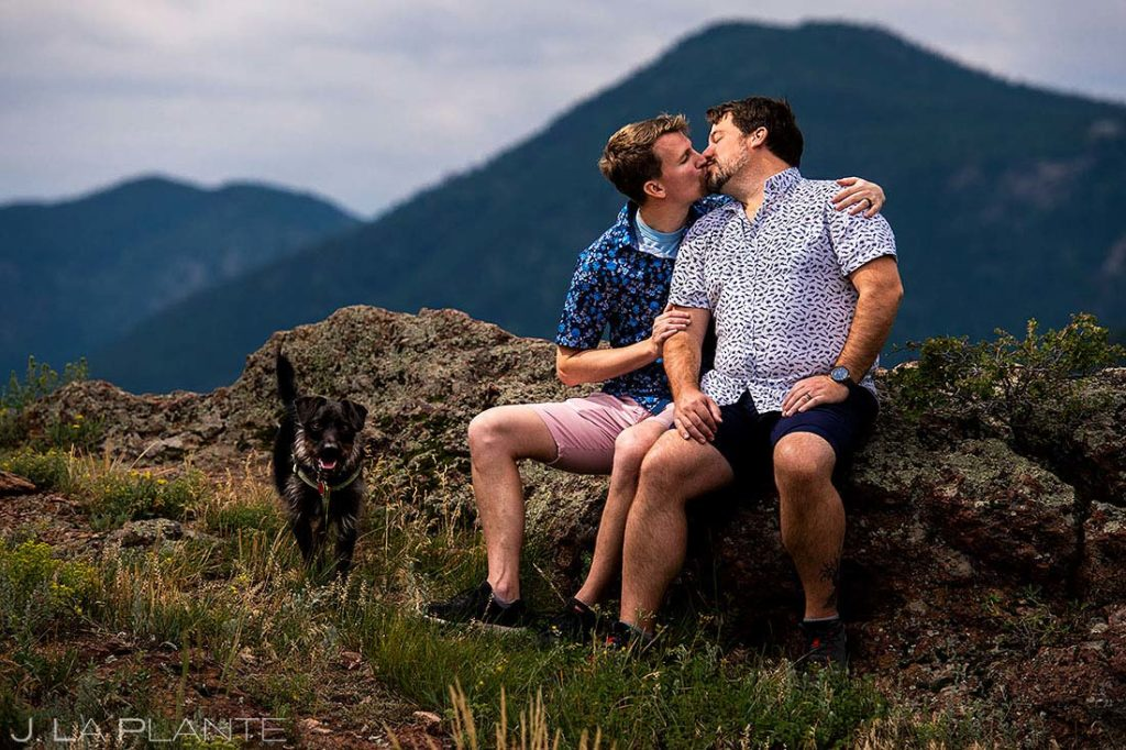 post wedding session with dogs in Boulder Colorado