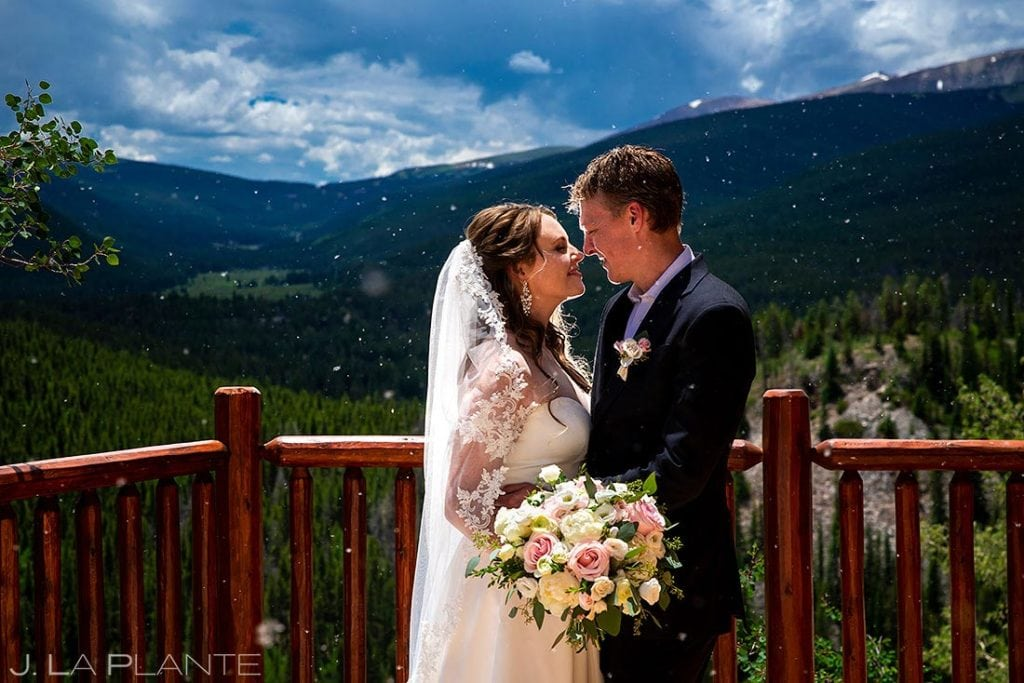 Arapahoe Basin wedding portrait of bride and groom