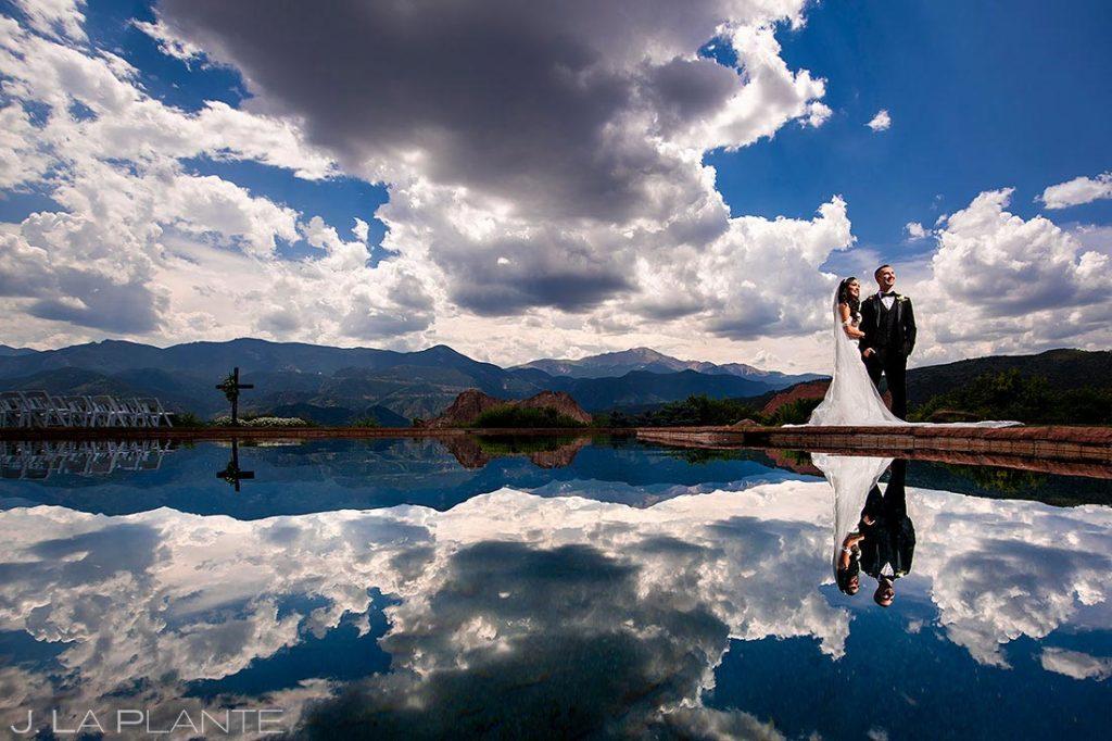 bride and groom portrait at Garden of the Gods Resort wedding