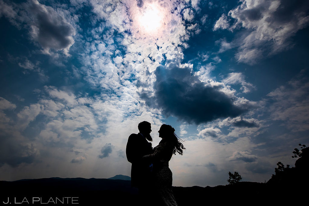 portrait of bride and groom during backyard wedding in Boulder