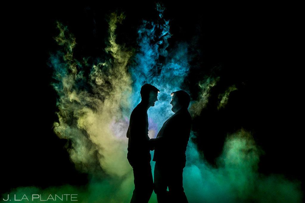 color powder wedding session in Boulder Colorado