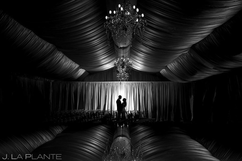 silhouette photo of bride and groom at Wellshire Event Center wedding