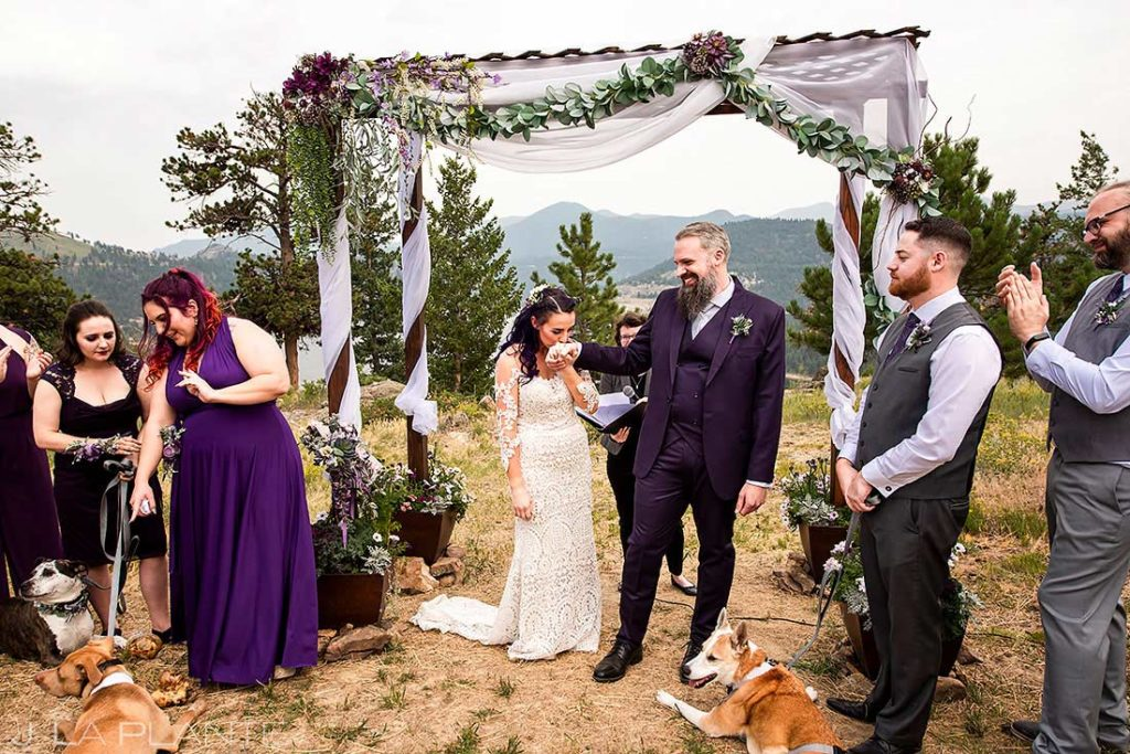 outdoor mountain wedding ceremony at private residence