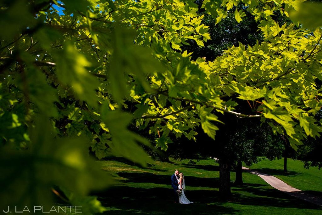portrait of bride and groom at Wellshire Event Center wedding