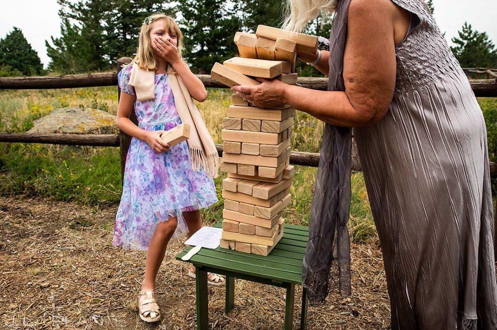 lawn games at backyard wedding in Boulder