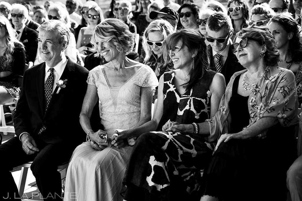 family of the bride at wedding ceremony
