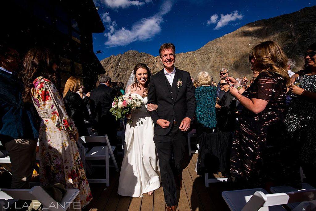 bubble send off at Arapahoe Basin wedding ceremony