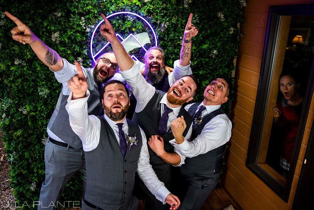 DIY photo booth at backyard mountain wedding