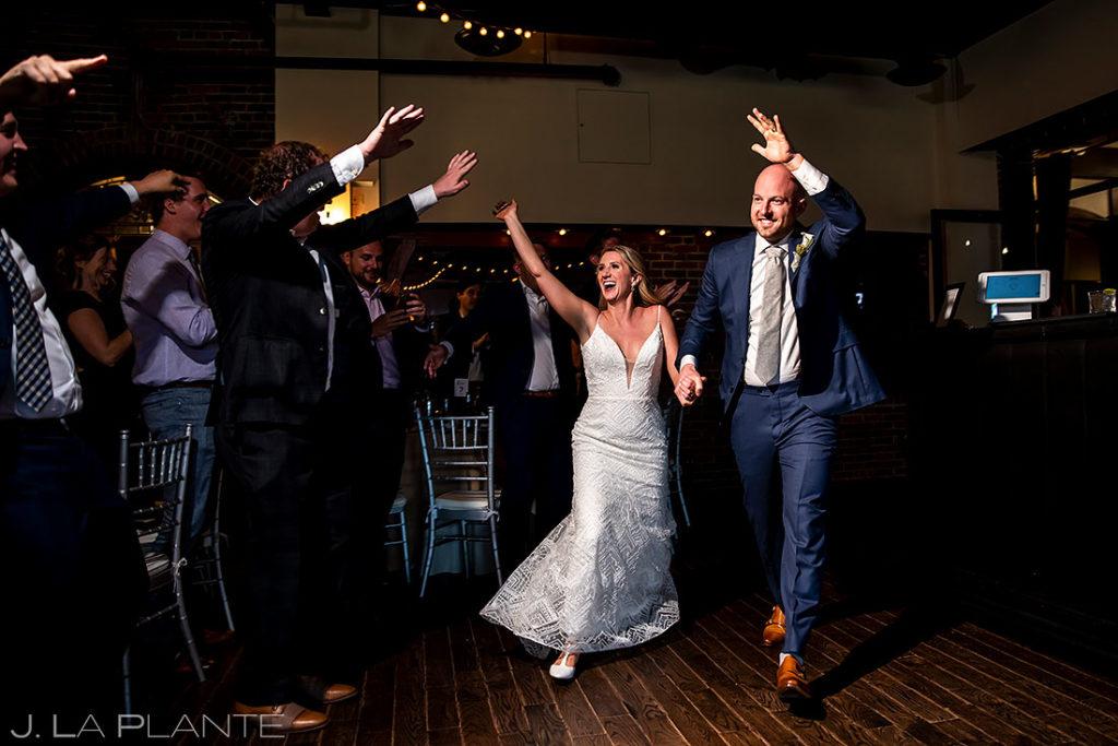 bride and groom entrance into wedding reception