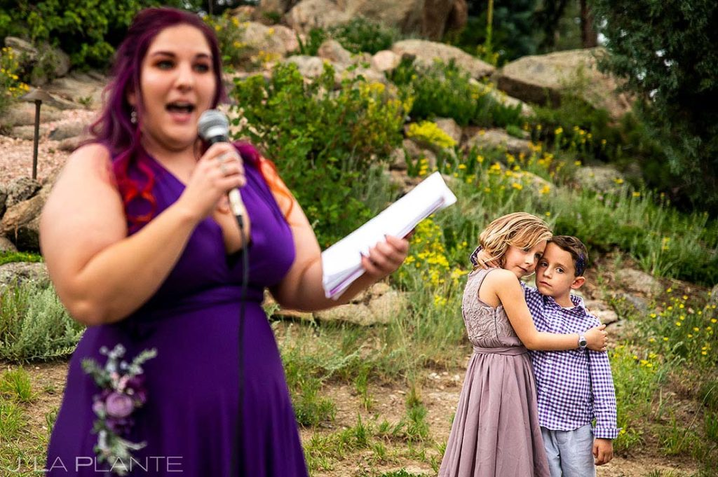 maid of honor toast at backyard wedding in Boulder