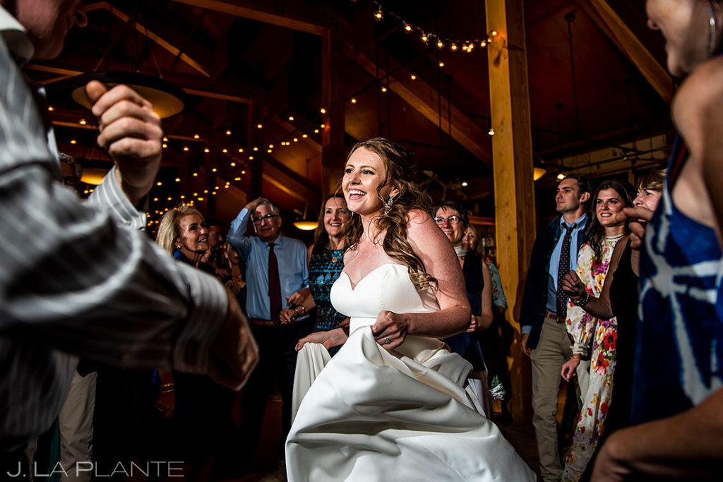 bride dancing during Arapahoe Basin wedding reception