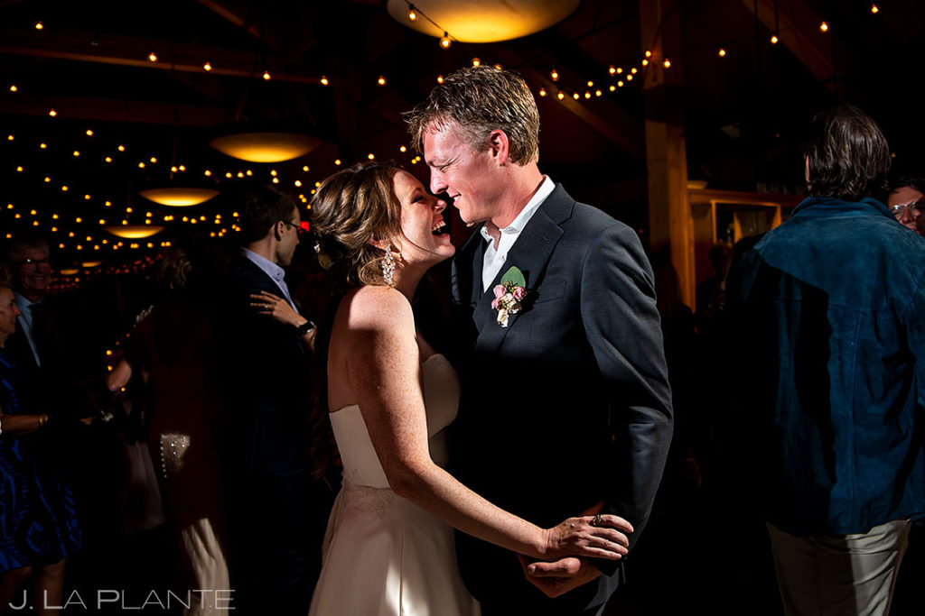 bride and groom dancing during Arapahoe Basin wedding reception