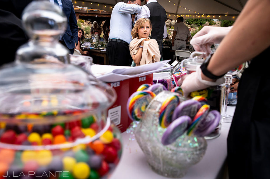 candy station for kids at mountain wedding