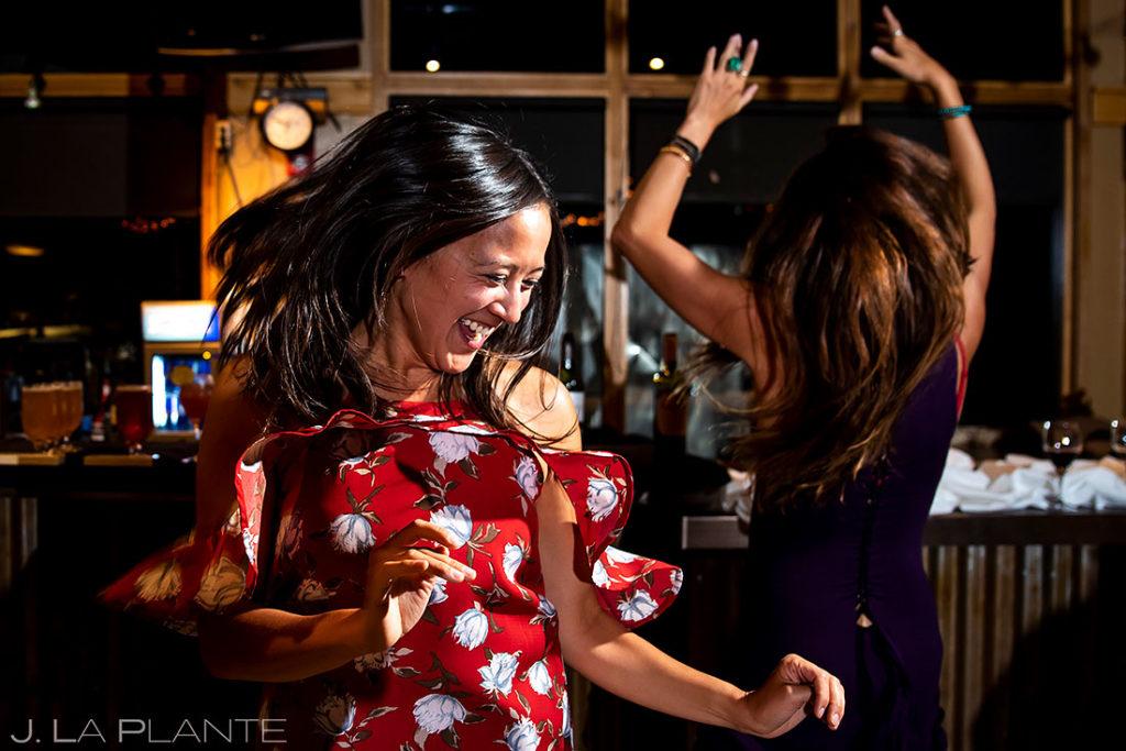 wedding guests dancing during Arapahoe Basin wedding reception