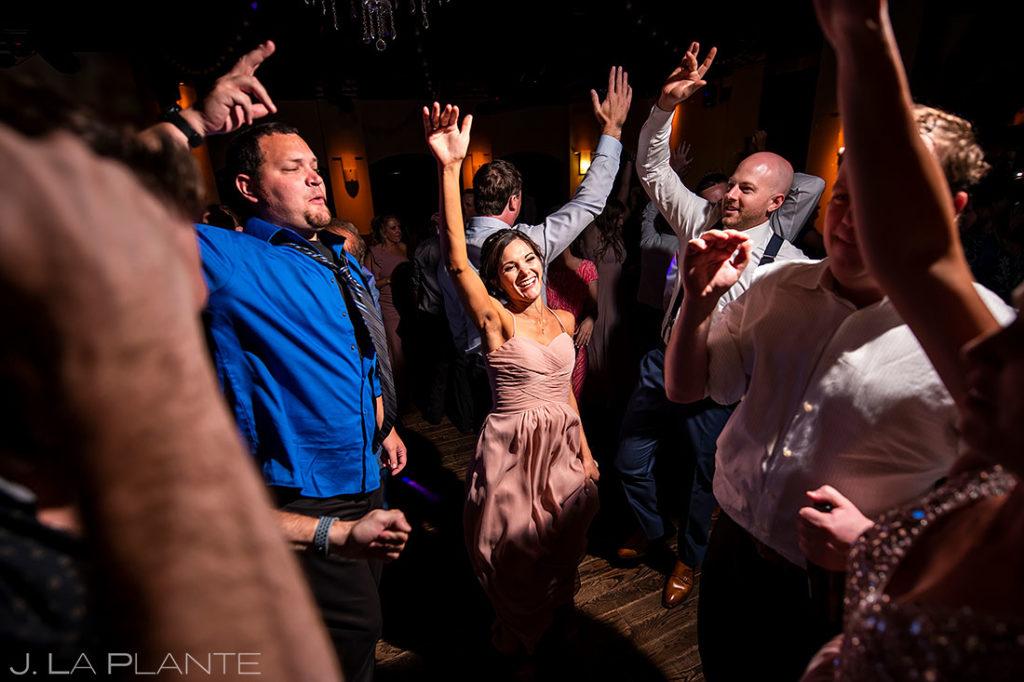 wedding guests on the dancefloor at Wellshire Event Center wedding