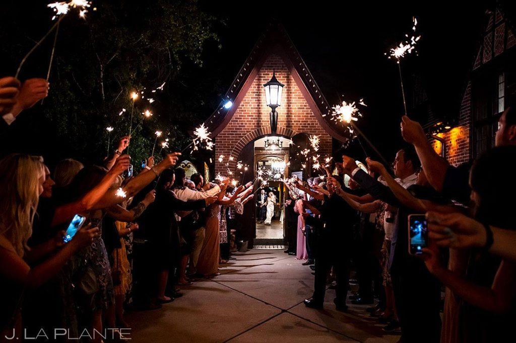 bride and groom sparkler send off at Wellshire Event Center wedding