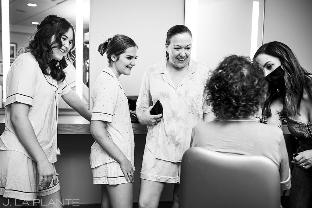 bridesmaids getting ready for Spruce Mountain Lower Ranch wedding