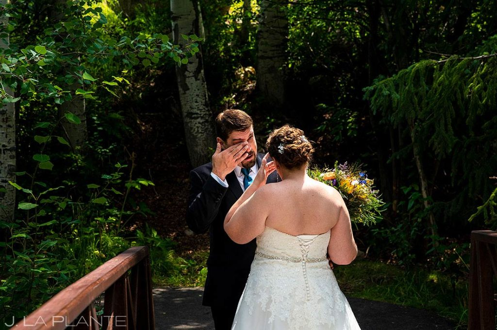first look before Eagle-Vail Pavilion wedding
