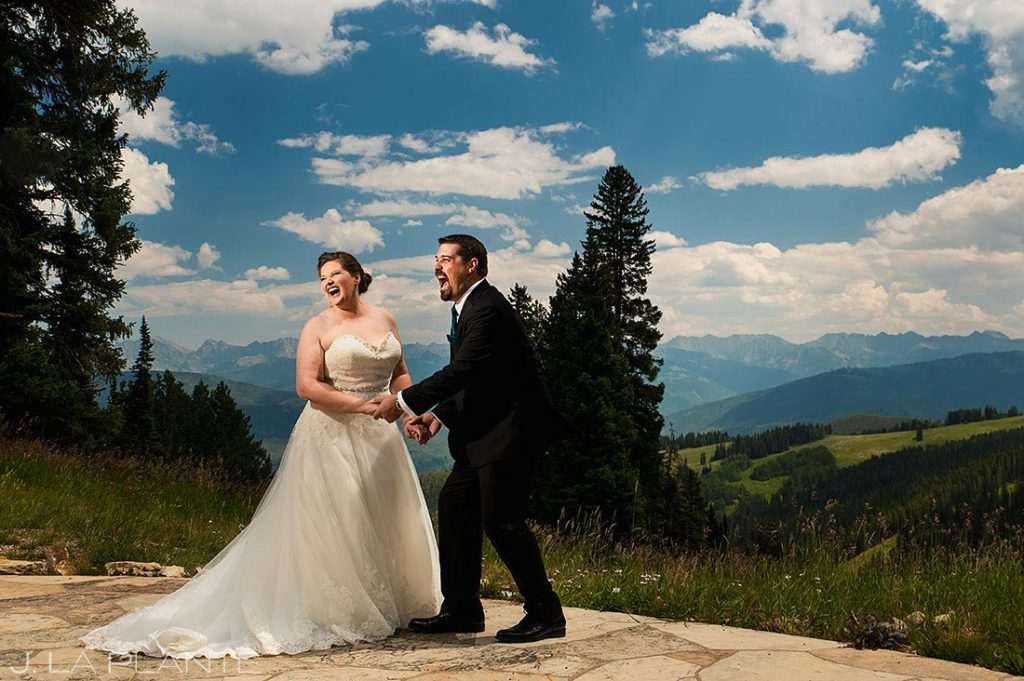 portrait of bride and groom at Beaver Creek