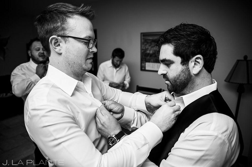 groomsmen getting ready for Estes Park Resort wedding