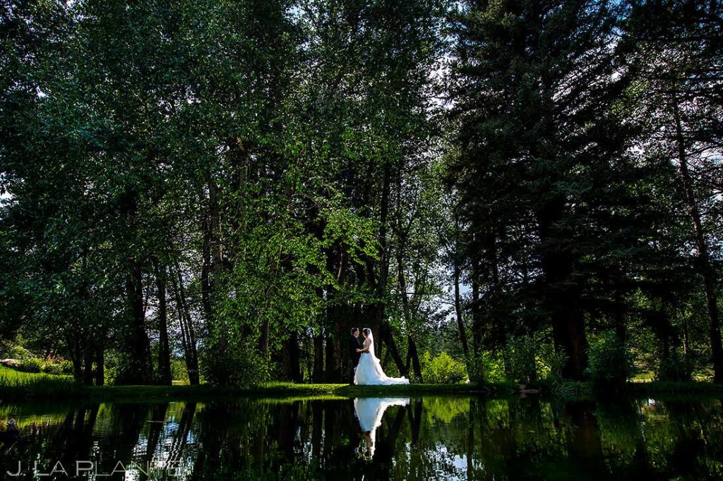 bride and groom in the woods next to pond