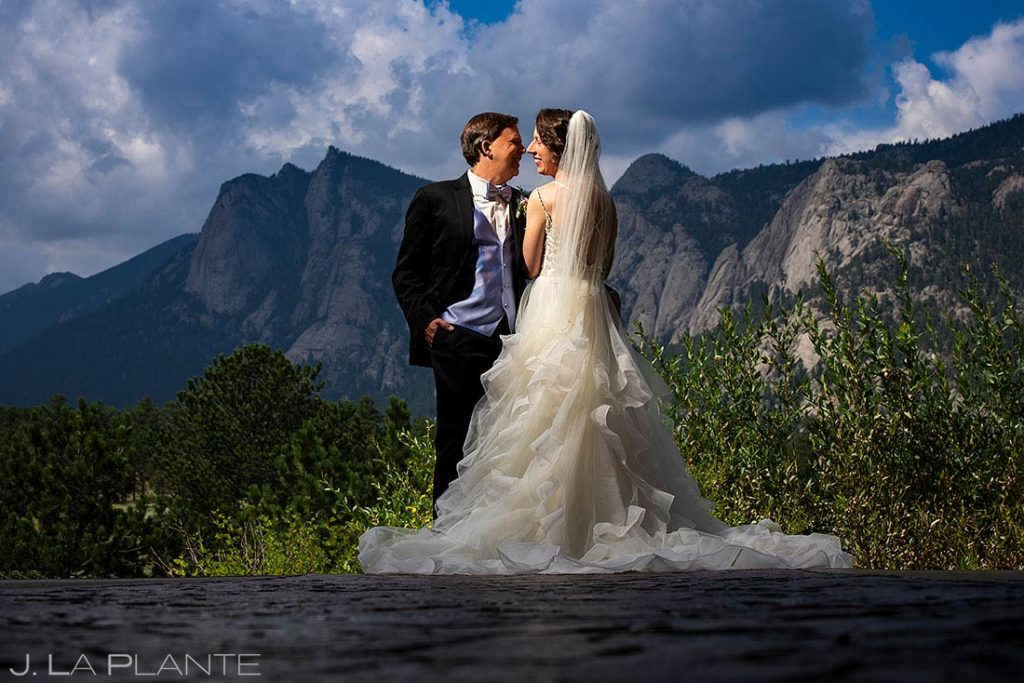 bride and groom portrait at black canyon homestead wedding