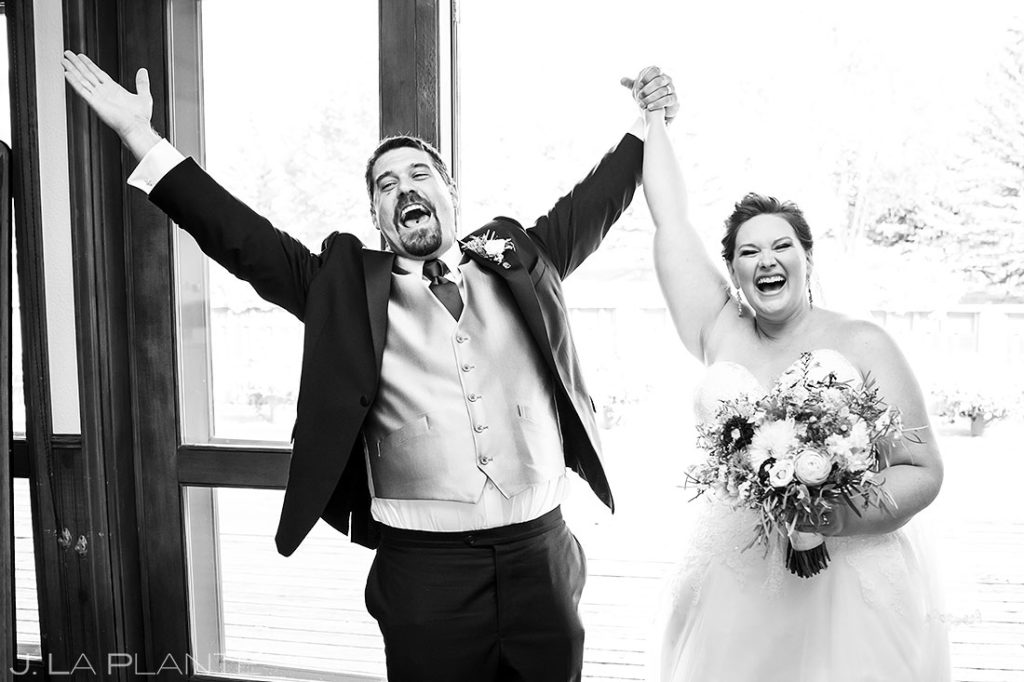 bride and groom entrance into Eagle-Vail Pavilion wedding