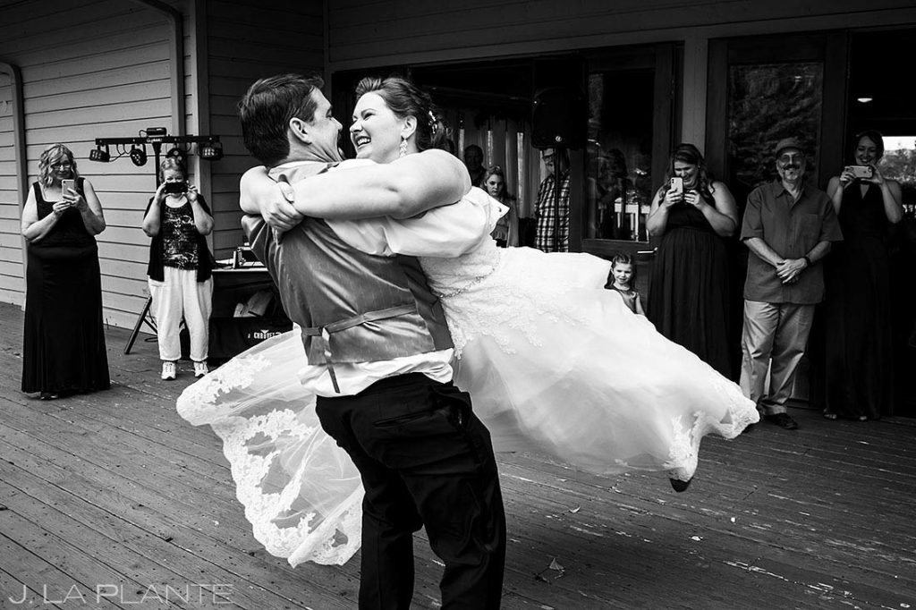 bride and groom first dance at Eagle-Vail Pavilion wedding