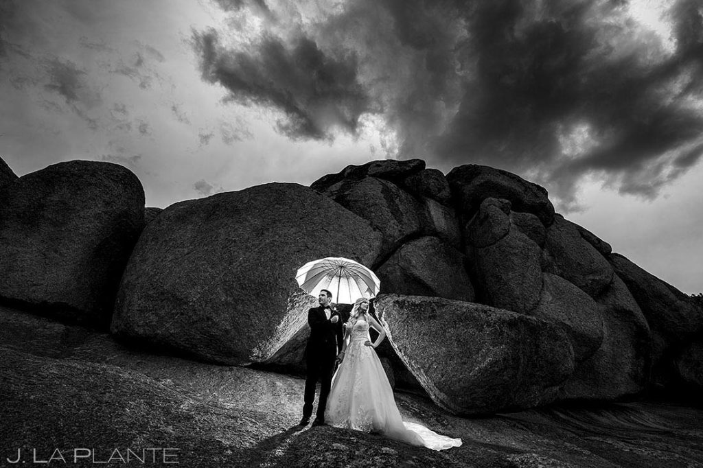 bride and groom portrait at Estes Park Resort wedding