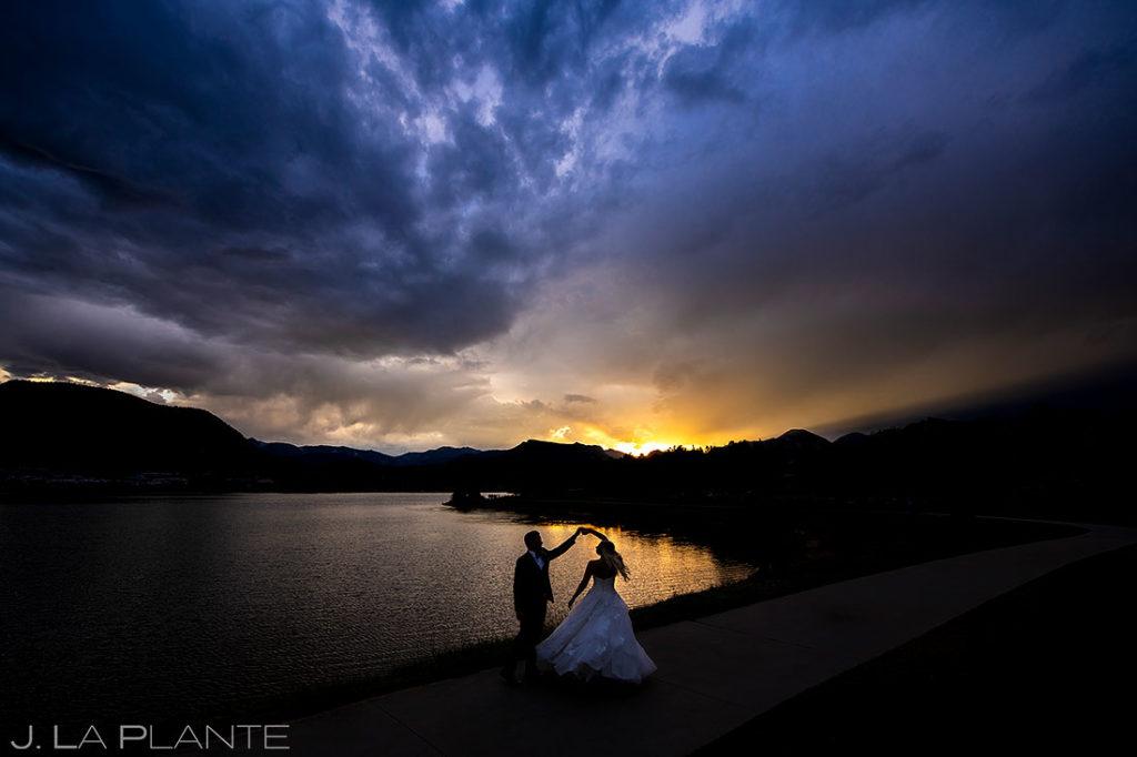 sunset portrait of bride and groom at Estes Park Resort wedding