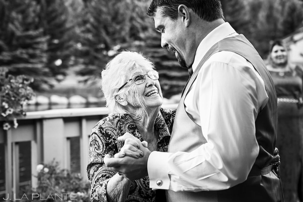 groom dancing with grandma at Eagle-Vail Pavilion wedding