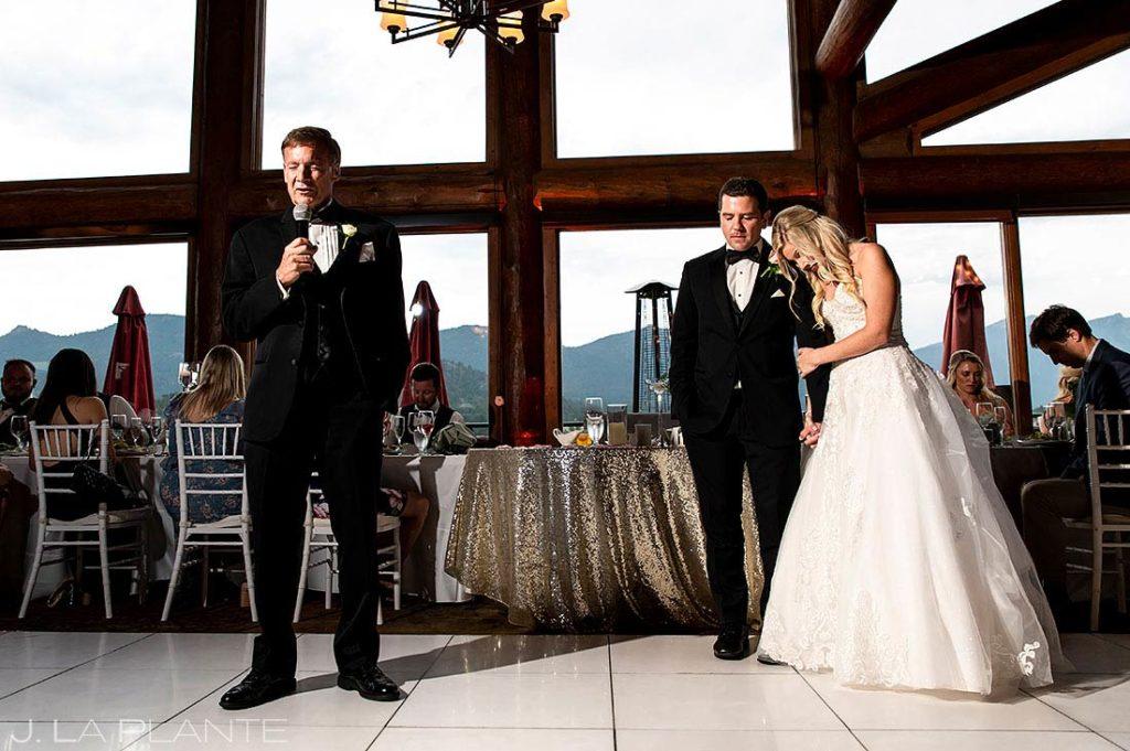 father of the bride toast at Estes Park Resort wedding reception