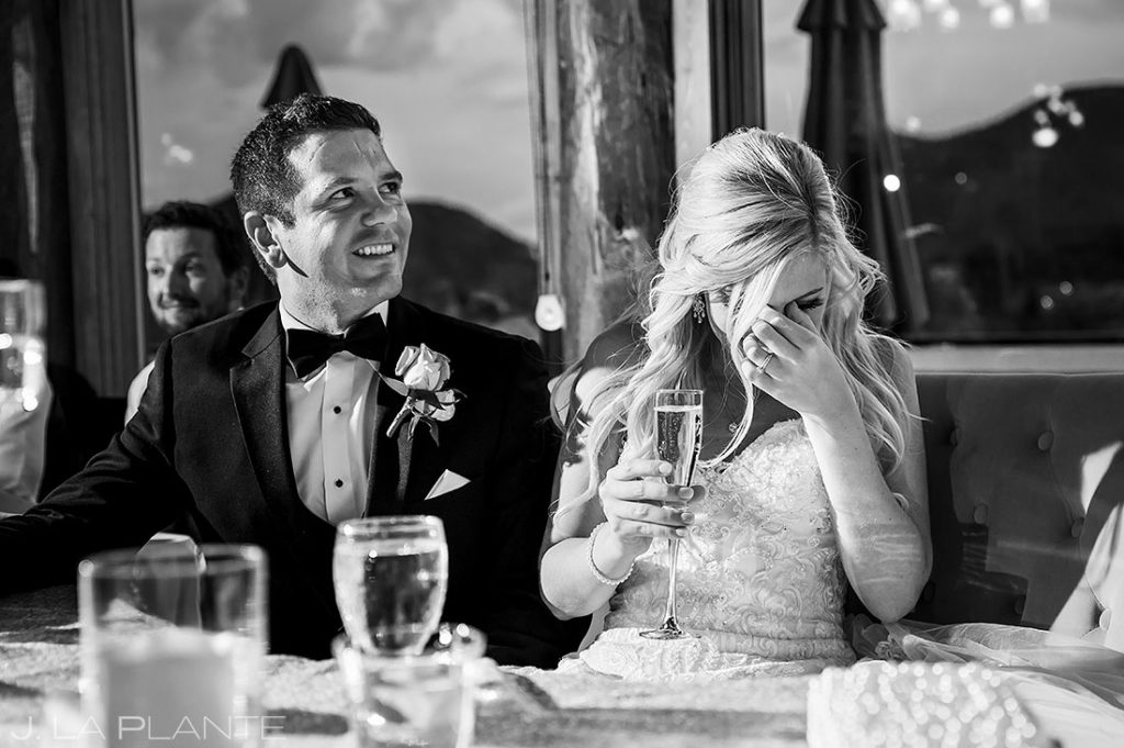 bride crying during maid of honor toast