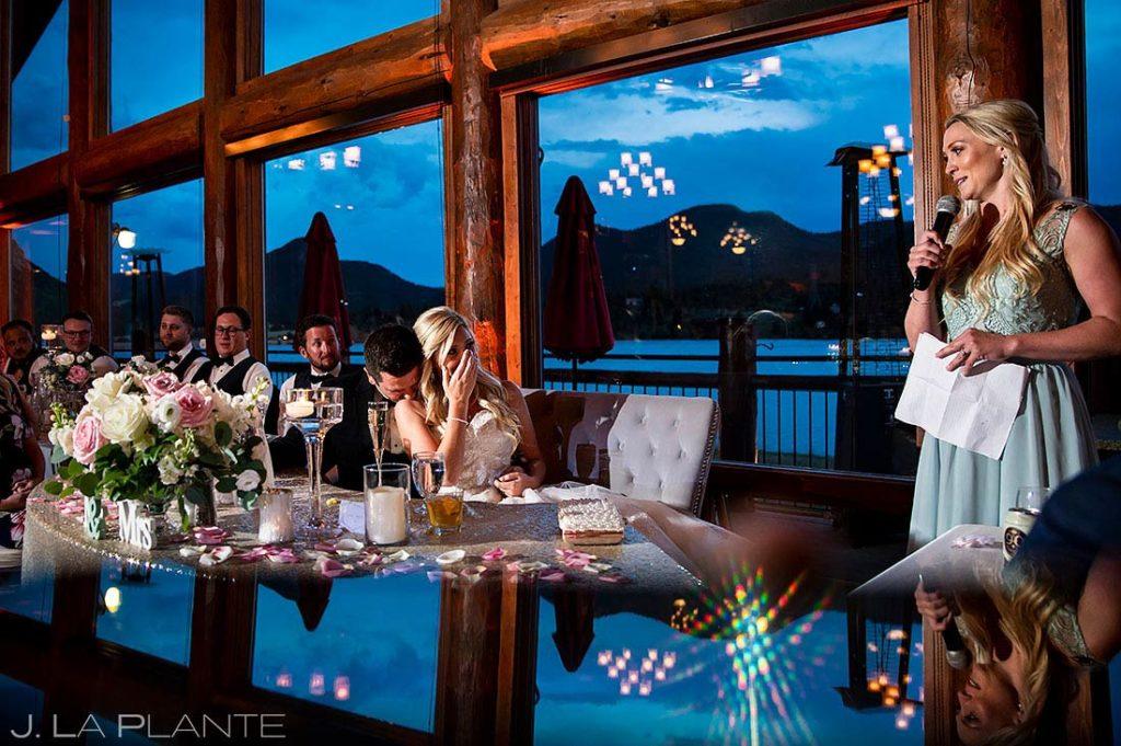 maid of honor toast at Estes Park Resort wedding reception
