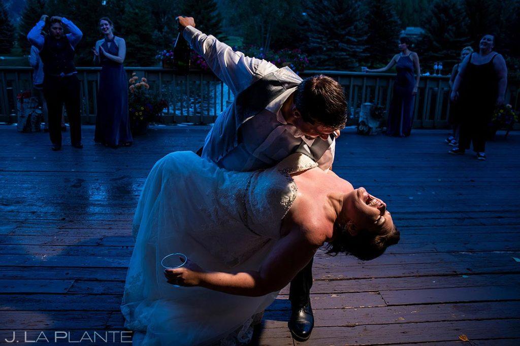 bride and groom dancing during Eagle-Vail Pavilion wedding