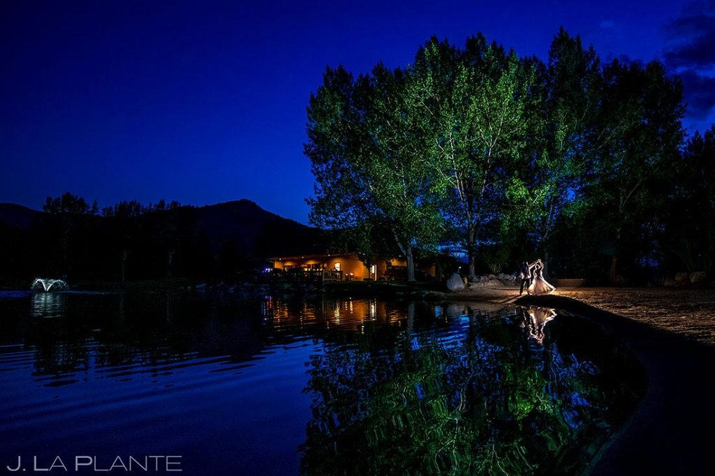 nighttime wedding photo of bride and groom at Eagle-Vail Pavilion wedding