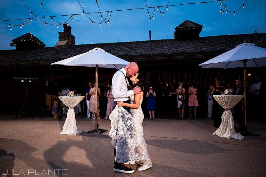 bride and groom first dance at Spruce Mountain Lower Ranch wedding
