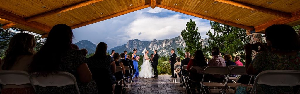 outdoor mountain wedding ceremony in Estes Park
