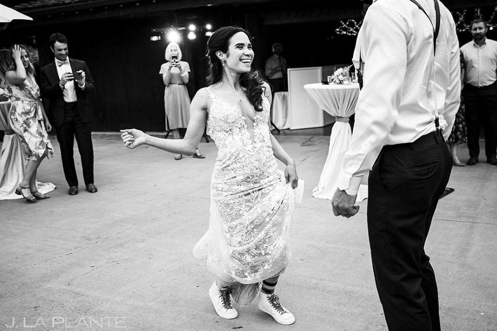 groom dancing with bride on the dance floor