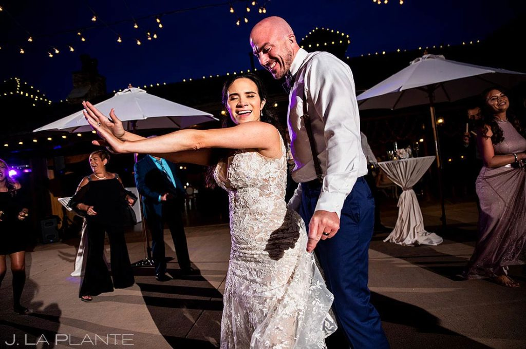 bride and groom dancing during wedding reception