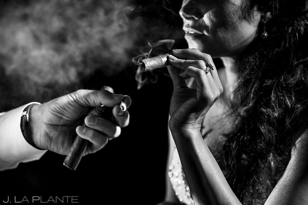 bride smoking cigar at Spruce Mountain Lower Ranch wedding