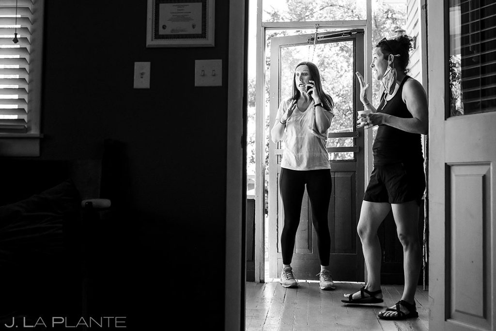 bridesmaids hanging out before wedding ceremony