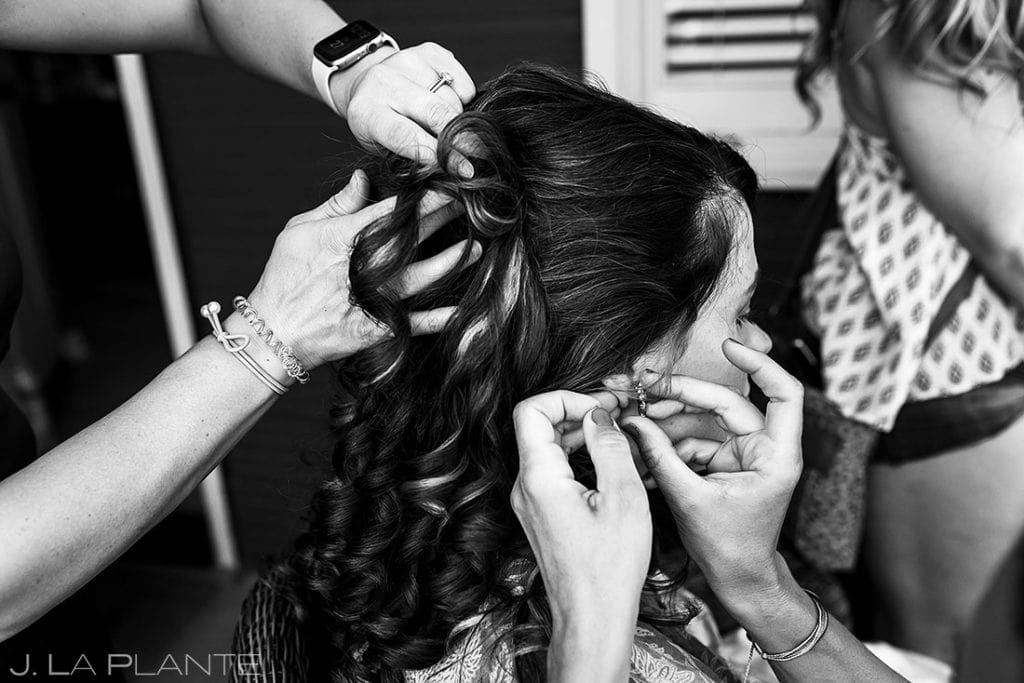 bride getting ready for Boulder microwedding